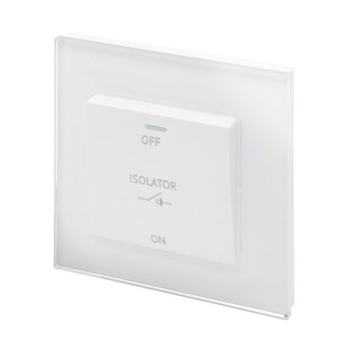 RetroTouch Triple Pole 10A Fan Isolator Switch White Glass PG 01730